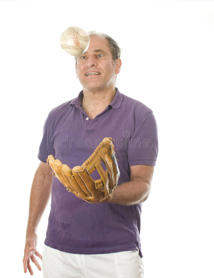 Man softball and baseball glove royalty free stock photos