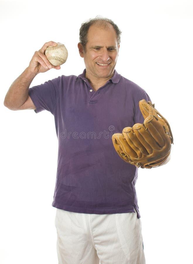 Man softball and baseball glove royalty free stock photo