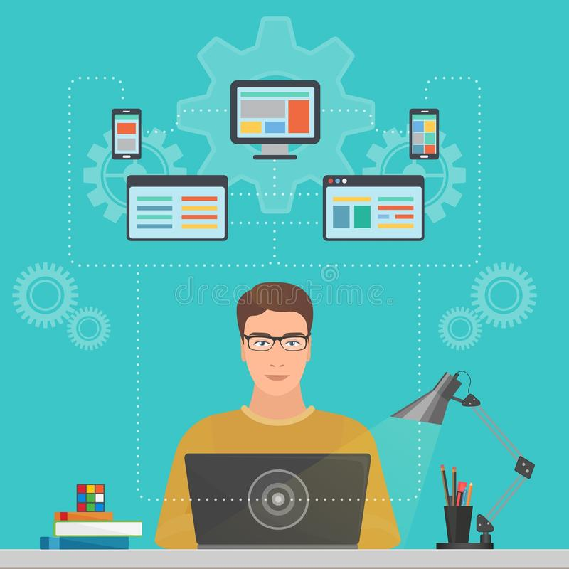 Man software engineer programmer with laptop concept with design, optimization, responsive and developer solutions. vector illustration
