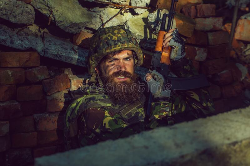 Soldier with angry face royalty free stock photos