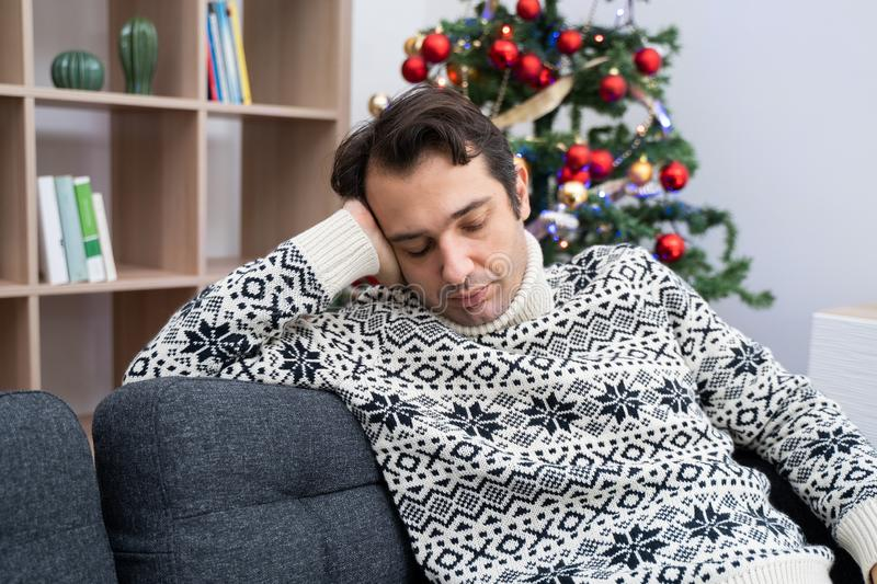 Man solitude portrait feeling bad during christmas day royalty free stock image