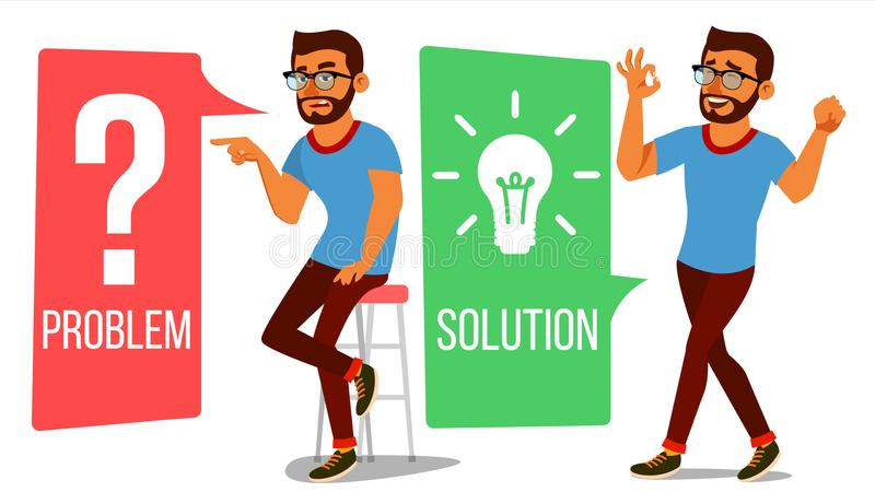 Man Solving Problem Vector. Problem Solution, Secret Discovery. Career Success. Decision Problem, Solving Process. Big vector illustration