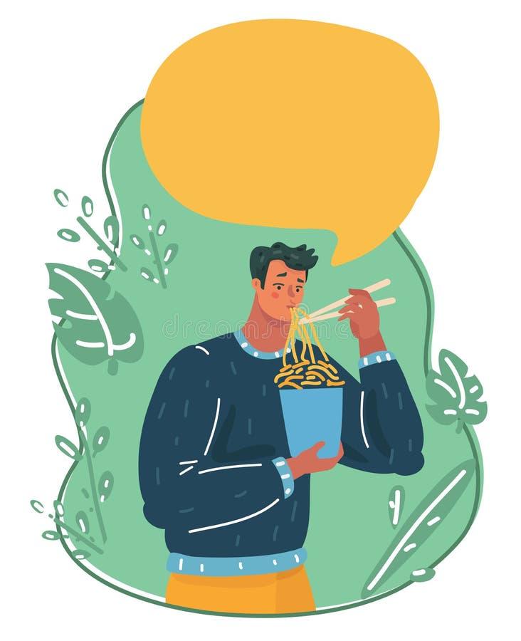 Man som äter den ögonblickliga nudeln royaltyfri illustrationer