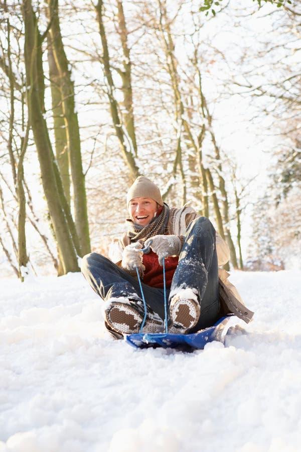 man som åka släde snöig skogsmark royaltyfri fotografi