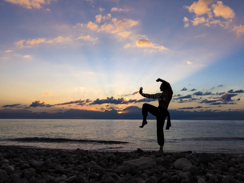 Man som öva Wushu på solnedgången Kontur av en man på solnedgång royaltyfria foton