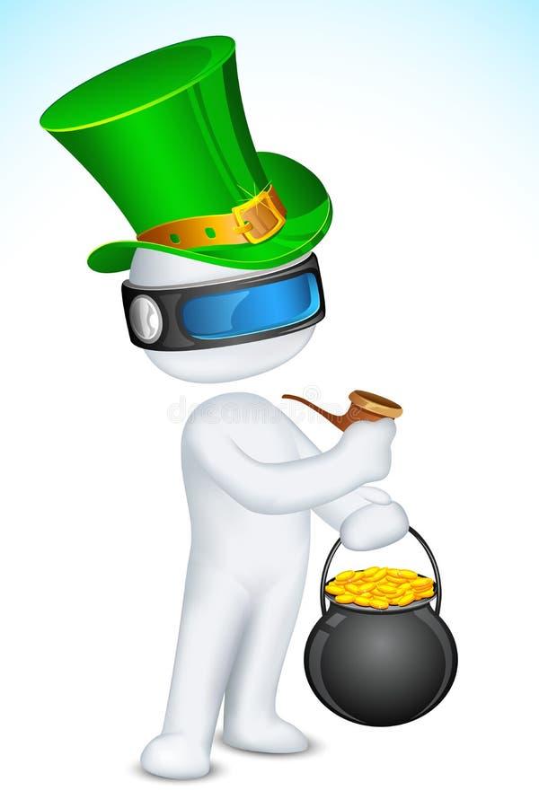 man som 3d firar Sanktt Patricks dag stock illustrationer