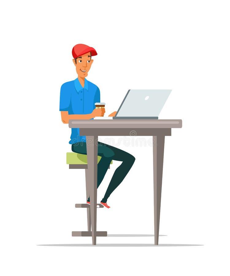 Man som använder bärbara datorn och dricker den plana vektorn för kaffe royaltyfri illustrationer