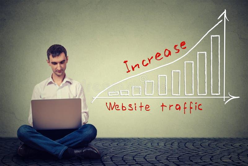 Man som använder bärbara datorn som arbetar på ett plan för att öka websitetrafik Teknologimarknadsföringsbegrepp
