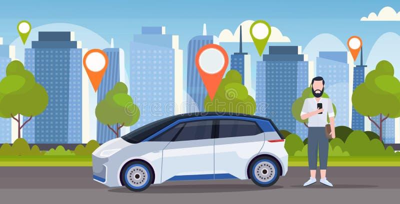 Man som använder för online-staden för mobil för trans. för begrepp för dela beställataxibil den moderna för carsharing för servi stock illustrationer