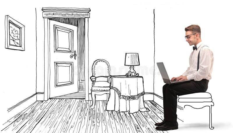 Man som använder hans bärbar dator vektor illustrationer