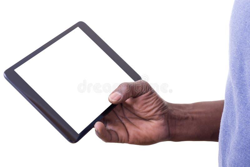 Man som använder minnestavlan royaltyfria bilder
