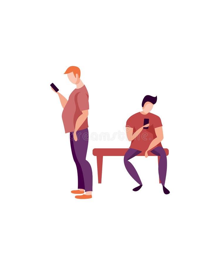 Man som använder smartphonen på bänk royaltyfri illustrationer