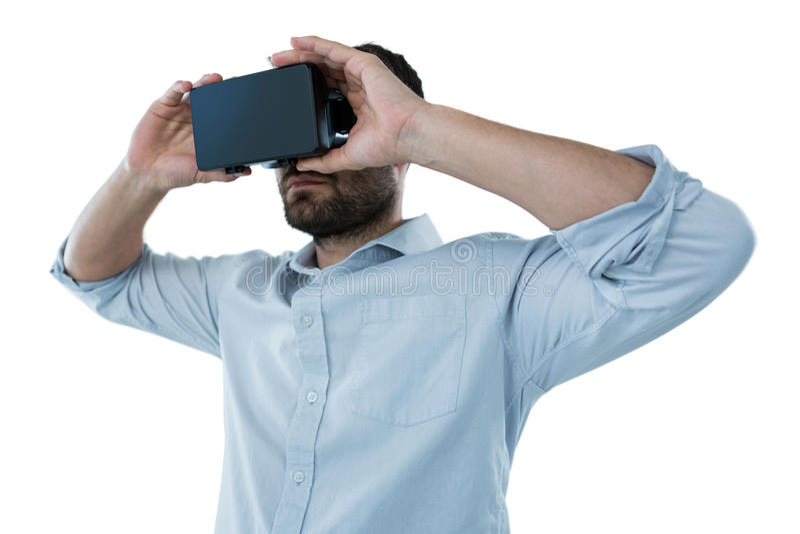 Man som använder virtuell verklighethörlurar med mikrofon fotografering för bildbyråer
