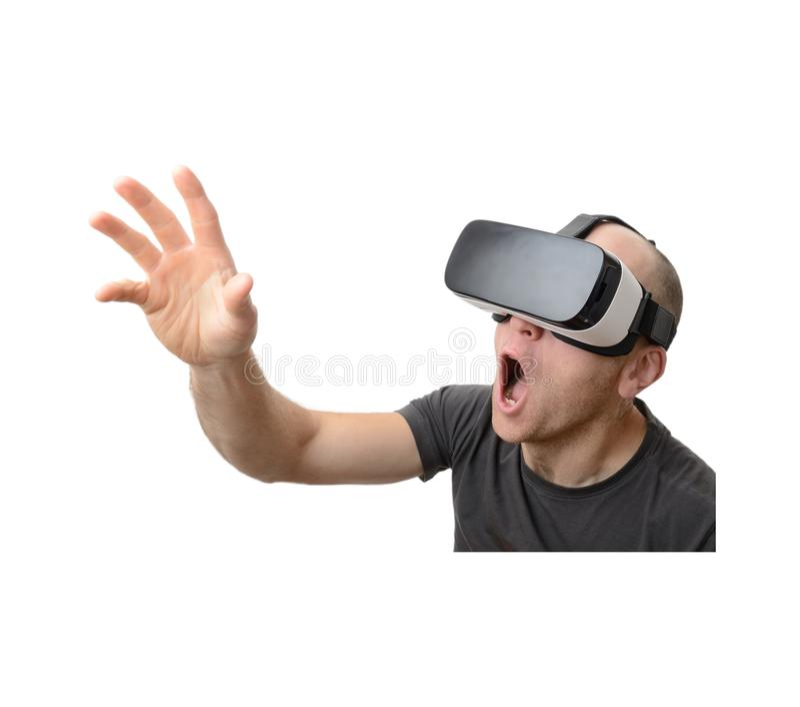 Man som använder VR-hörlurar med mikrofon arkivfoto