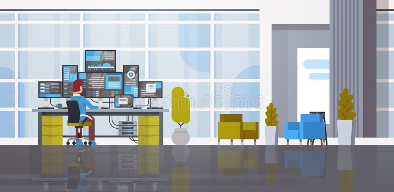 Man som arbetar i databas för information om övervakning för dator för varande värd server för datorhallrum stock illustrationer