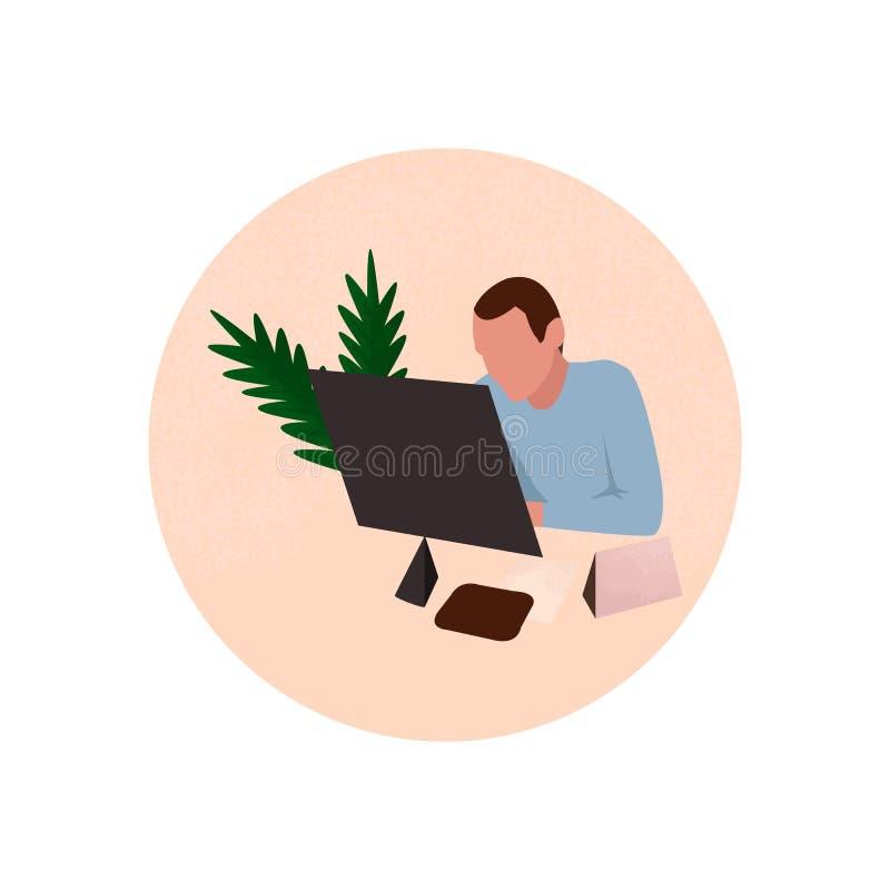 Man som arbetar i kontoret stock illustrationer