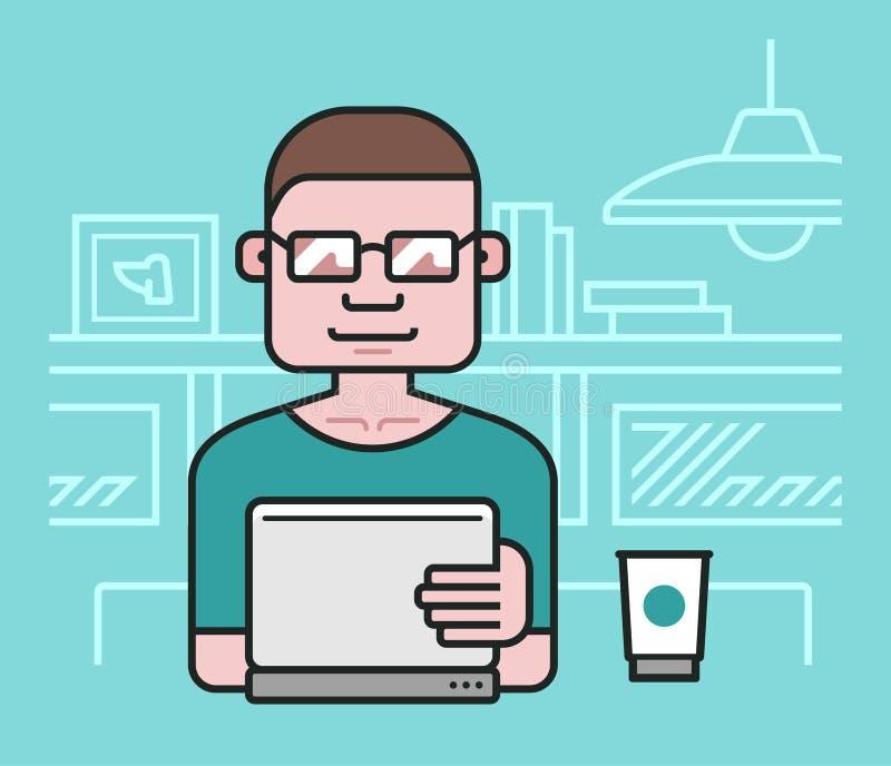 Man som arbetar på bärbara datorn royaltyfri illustrationer