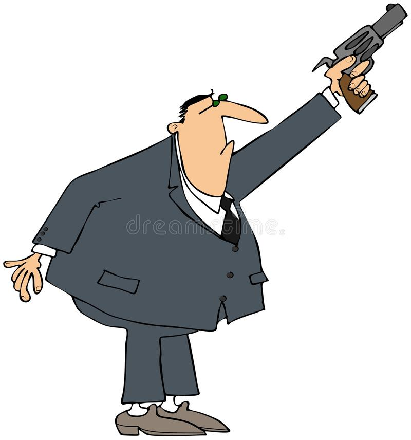 Man som avfyrar en pistol i lufta stock illustrationer