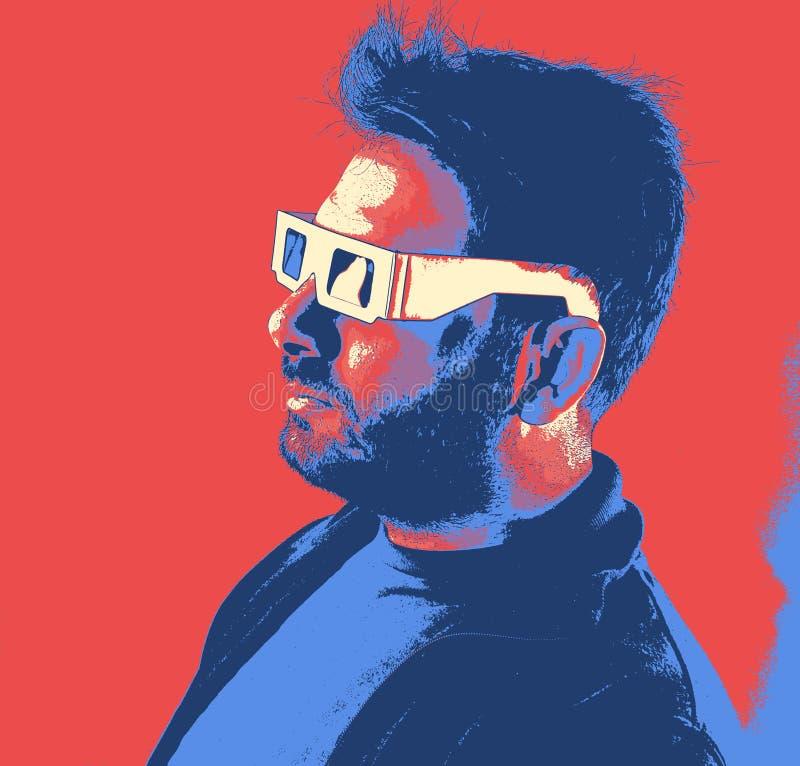Man som bär 3d exponeringsglas, videospeleffekt royaltyfri illustrationer