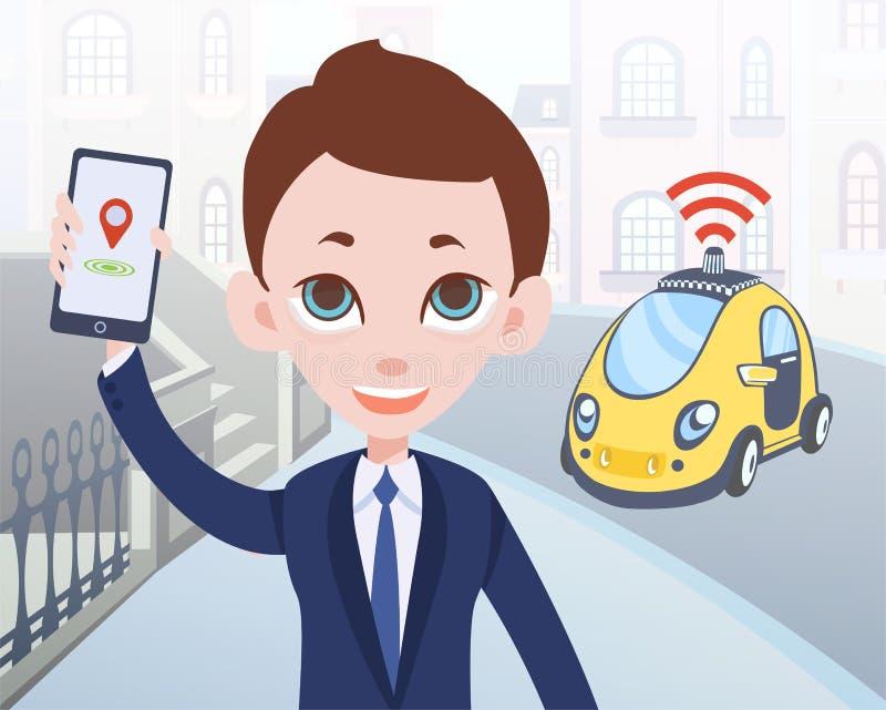 Man som beställer den driverless taxien genom att använda mobil applikation Tecknad filmaffärsmantecken med smartphonen och bilen royaltyfri illustrationer