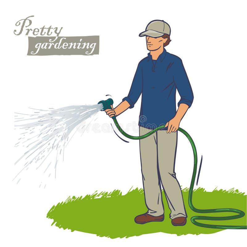 Man som bevattnar gräset royaltyfri illustrationer