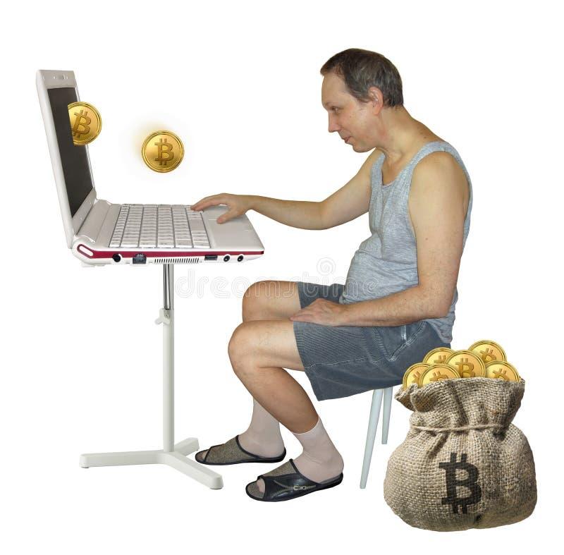 Man som bryter bitcoins på datoren arkivbild