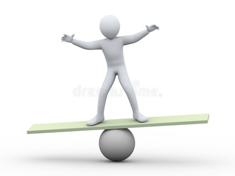 man som 3d balanserar på boll stock illustrationer