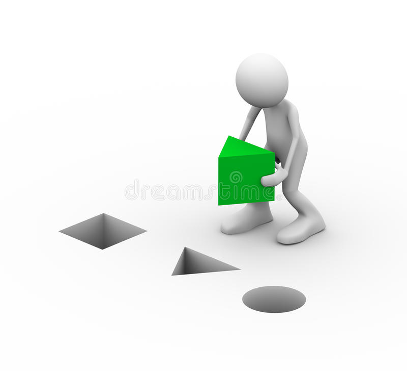 man som 3d förlägger den gröna triangeln stock illustrationer