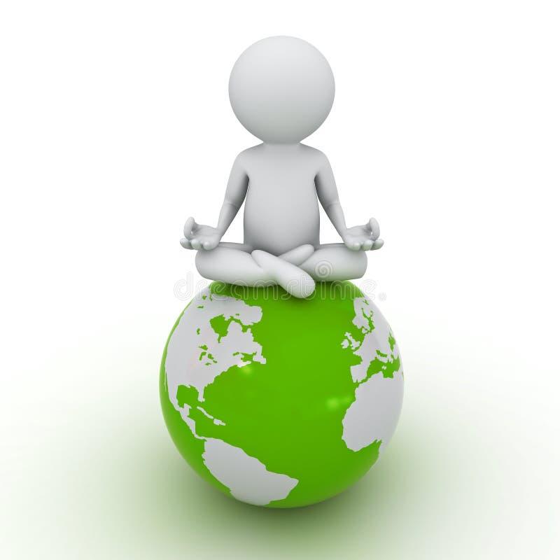 man som 3d gör meditation på det gröna jordklotet royaltyfri illustrationer