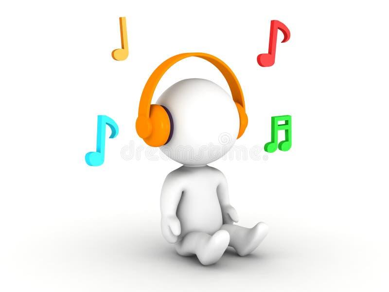 man som 3D lyssnar till hörlurar, med musikaliska anmärkningar royaltyfri illustrationer