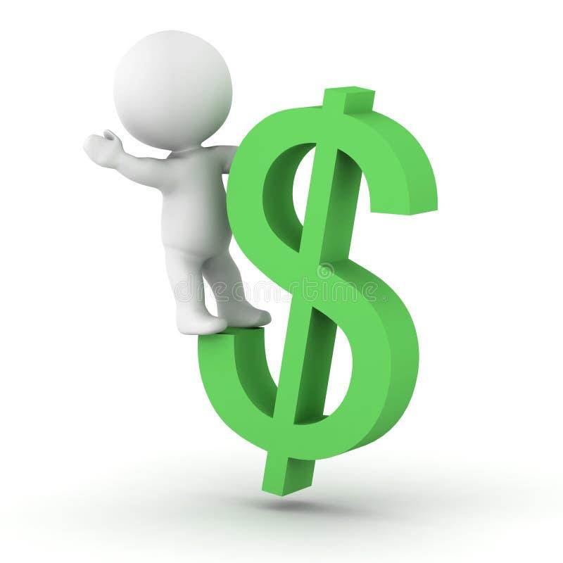 man som 3D rider dollarsymbol vektor illustrationer