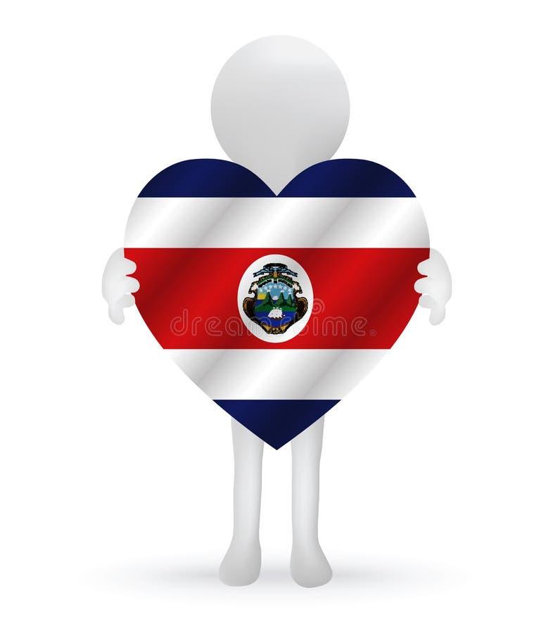 man som 3d rymmer en Costa Rica flagga vektor illustrationer