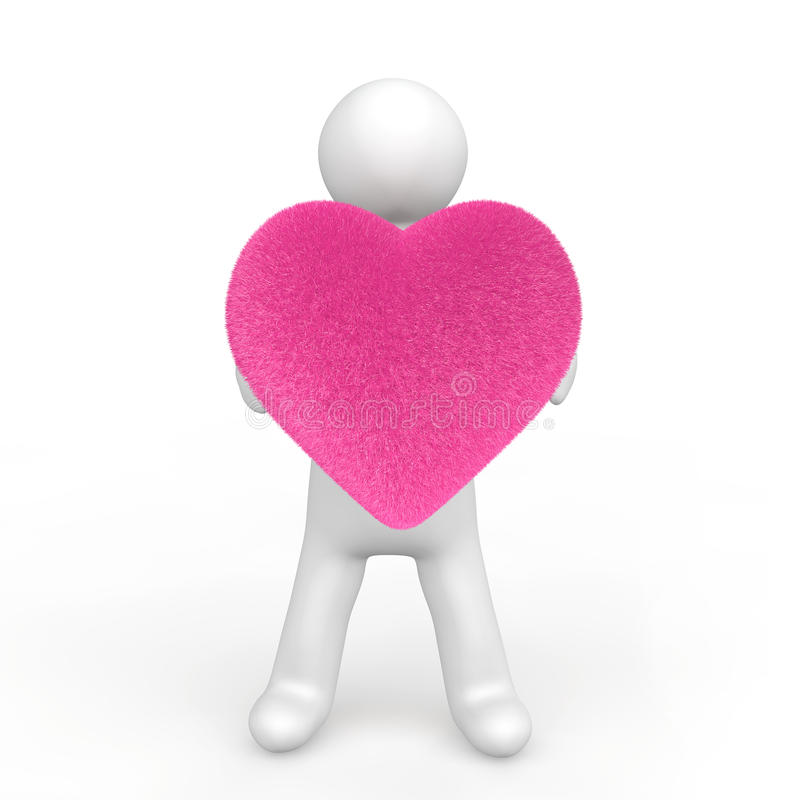 man som 3d rymmer en fluffig hjärtaform stock illustrationer