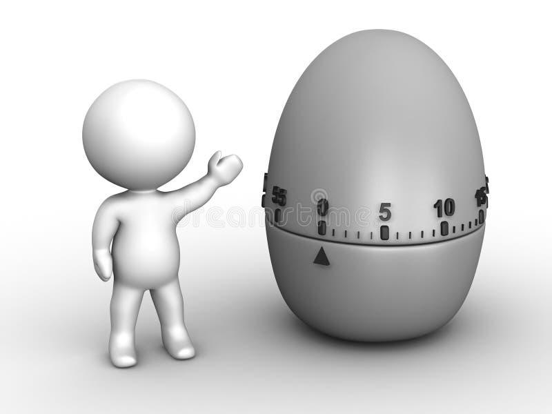 man som 3D visar den Pomodoro äggklockan royaltyfri illustrationer