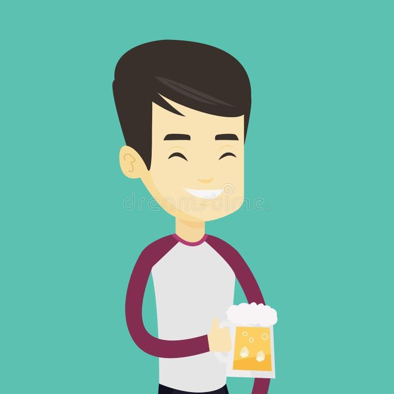 Man som dricker ölvektorillustrationen stock illustrationer