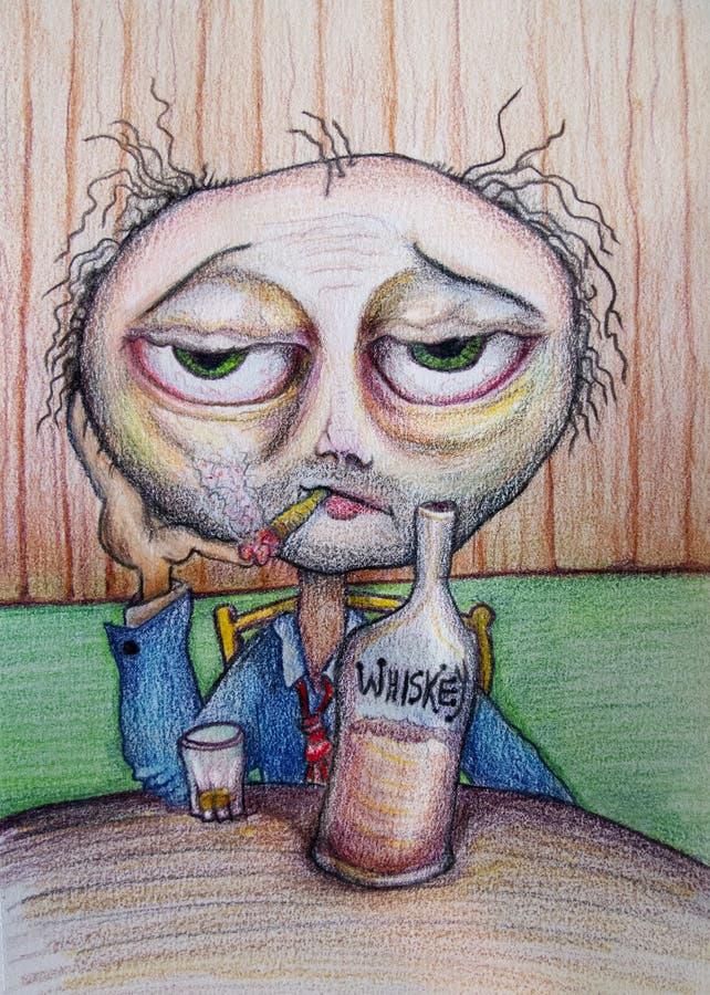 Man som dricker whiskytecknad filmteckningen stock illustrationer