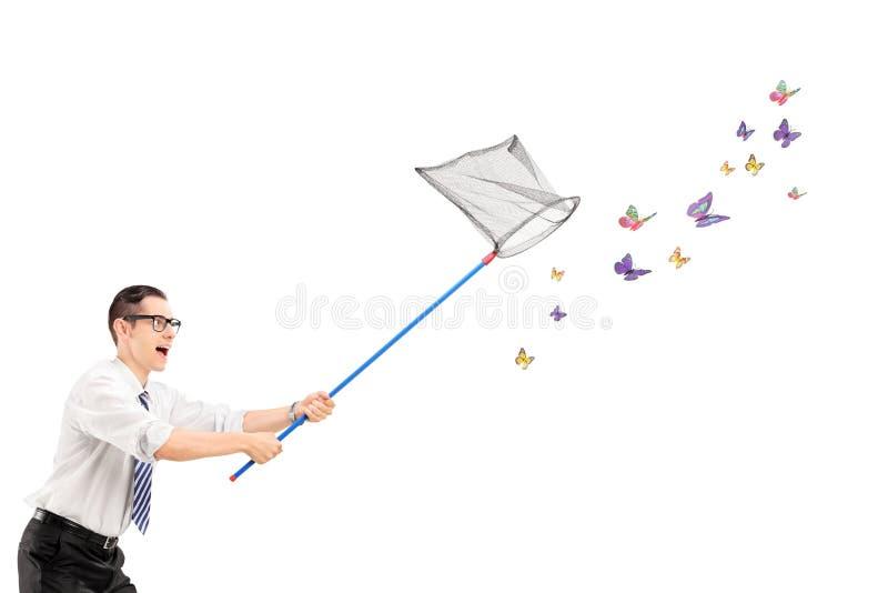Man som fångar fjärilar med netto arkivfoton