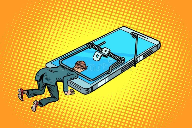 Man som fångas i en råttfällasmartphone stock illustrationer