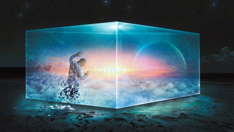 Man som försöker att förstå universumet arkivbilder