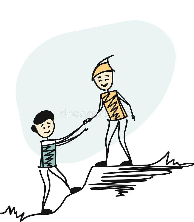 Man som fotvandrar hjälp, hjälpande lag för att arbeta stock illustrationer
