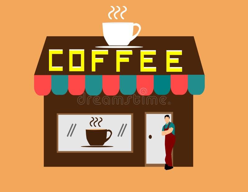 Man som framme står av en brun coffee shop vektor illustrationer