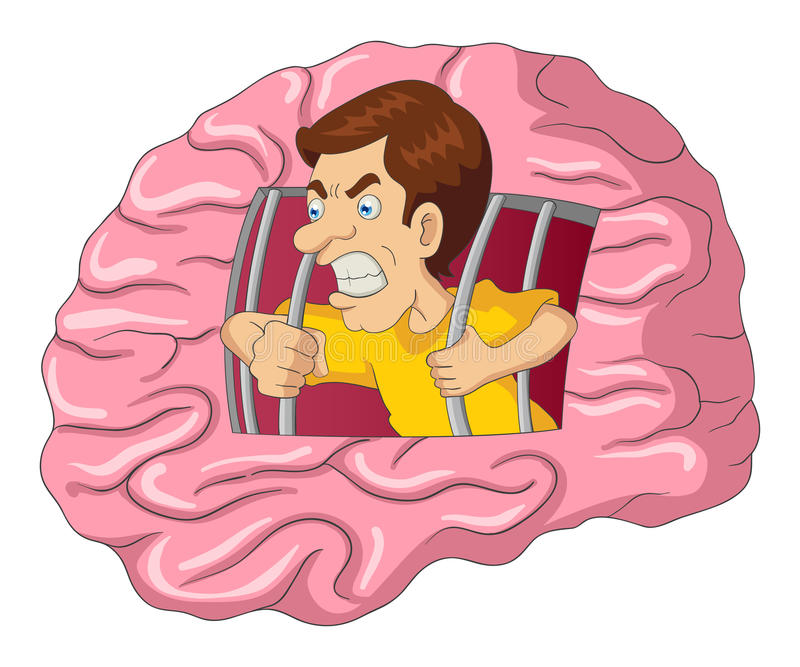 Man som fritt bryter från hjärna royaltyfri illustrationer