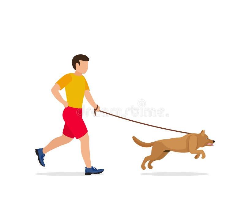 Man som går eller kör med en hund vektor illustrationer