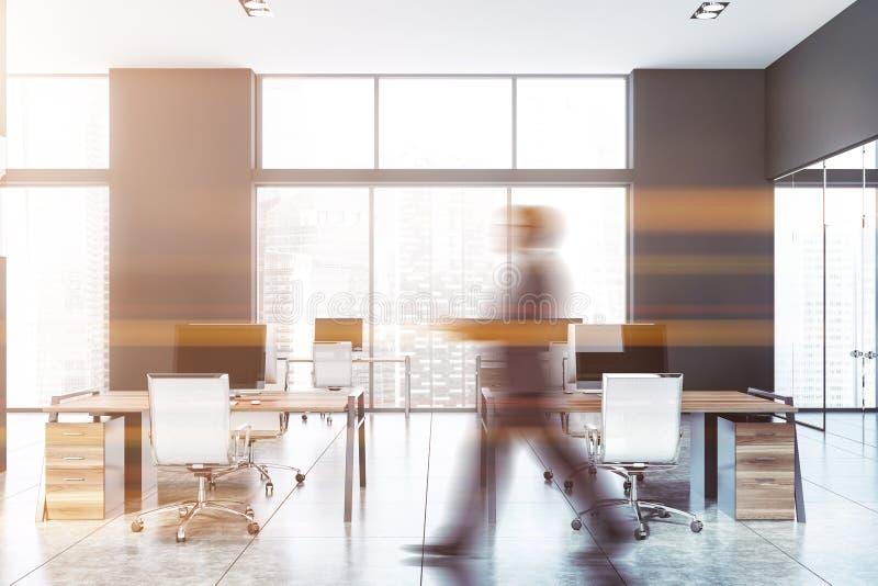 Man som går i modernt grått öppet utrymmekontor fotografering för bildbyråer