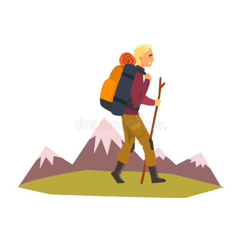 Man som går med ryggsäcken och material, sommarberglandskap, utomhus- affärsföretag, lopp, campa vandra tur eller vektor illustrationer