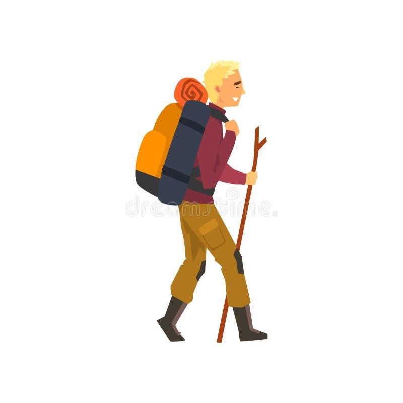 Man som går med ryggsäcken och material, utomhus- affärsföretag, lopp, campa vandra tur eller expeditionvektor stock illustrationer