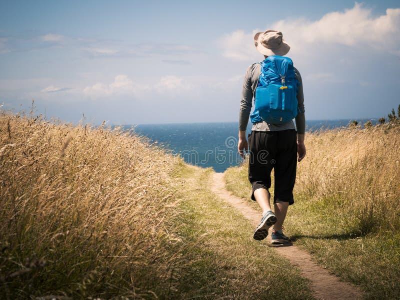 Man som går på Camino de Santiago royaltyfri foto