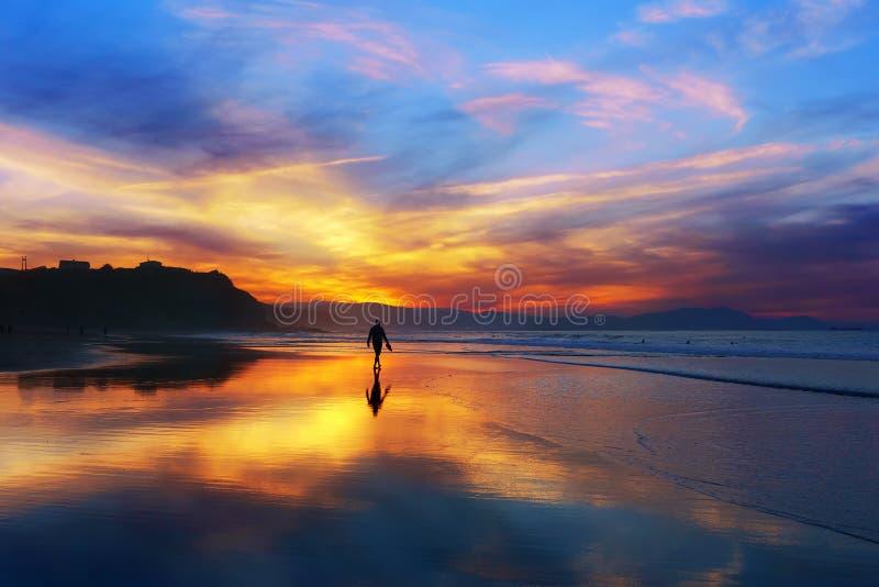 Man som går på stranden på solnedgången royaltyfria bilder