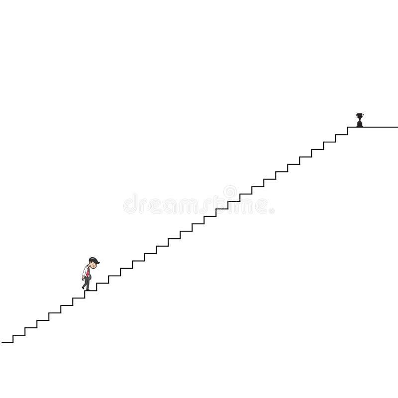 Man som går upp lång trappatecknad filmteckning vektor illustrationer