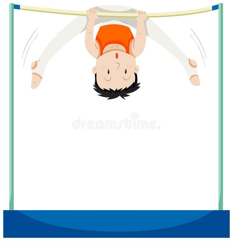 Man som gör gymnastik på horisontalstång stock illustrationer